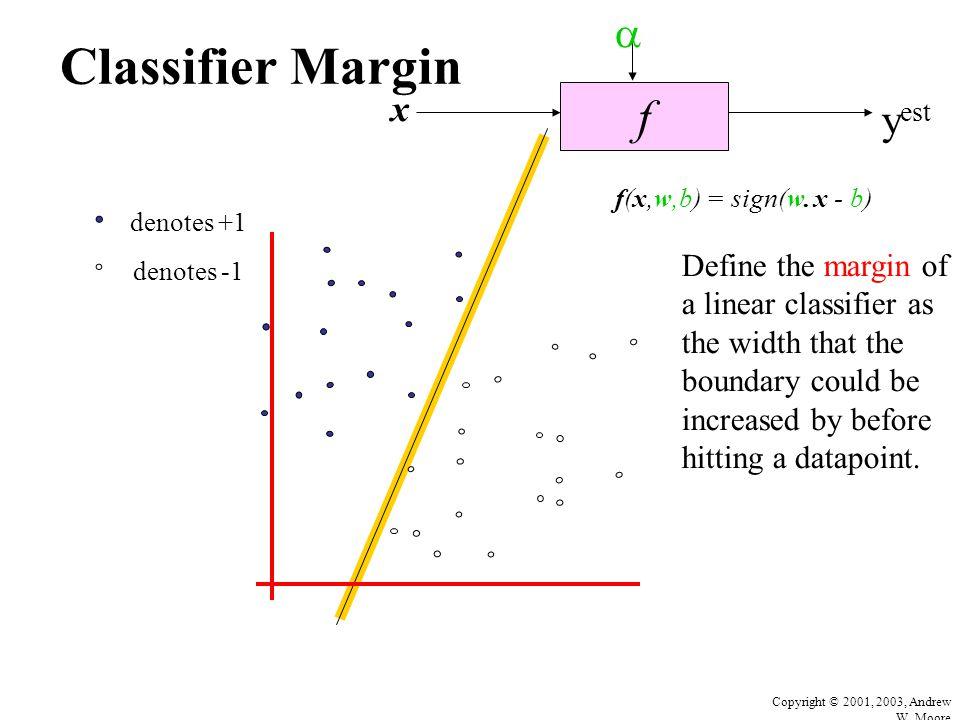 Copyright © 2001, 2003, Andrew W. Moore Classifier Margin f x  y est denotes +1 denotes -1 f(x,w,b) = sign(w. x - b) Define the margin of a linear cl