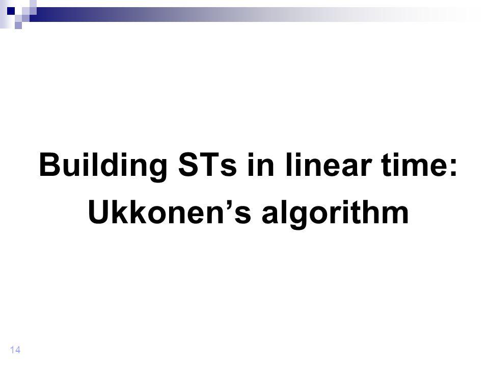 14 Building STs in linear time: Ukkonen's algorithm