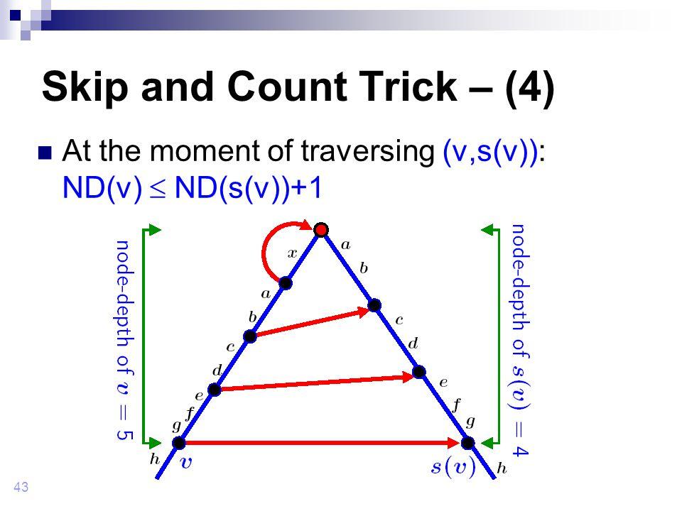 43 Skip and Count Trick – (4) At the moment of traversing (v,s(v)): ND(v)  ND(s(v))+1