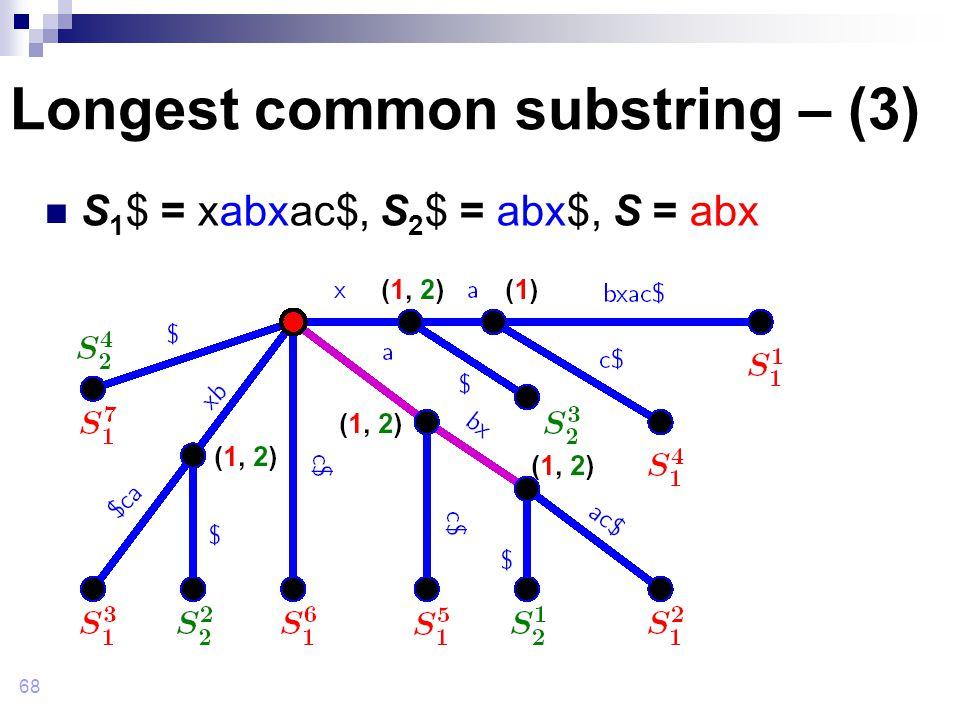 68 Longest common substring – (3) S 1 $ = xabxac$, S 2 $ = abx$, S = abx