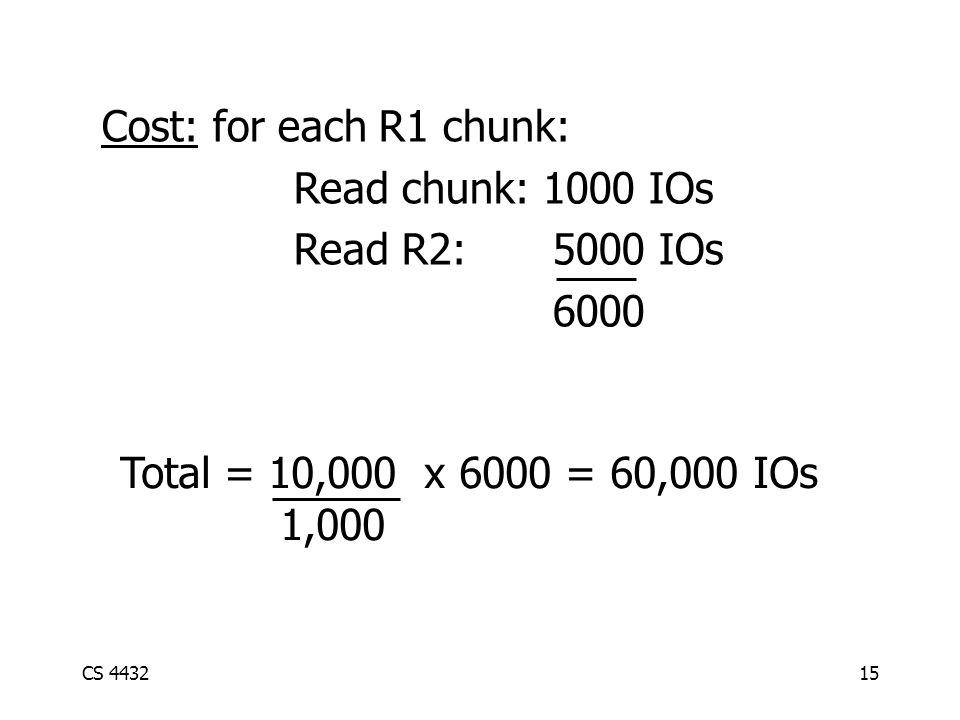 CS 443215 Cost: for each R1 chunk: Read chunk: 1000 IOs Read R2: 5000 IOs 6000 Total = 10,000 x 6000 = 60,000 IOs 1,000