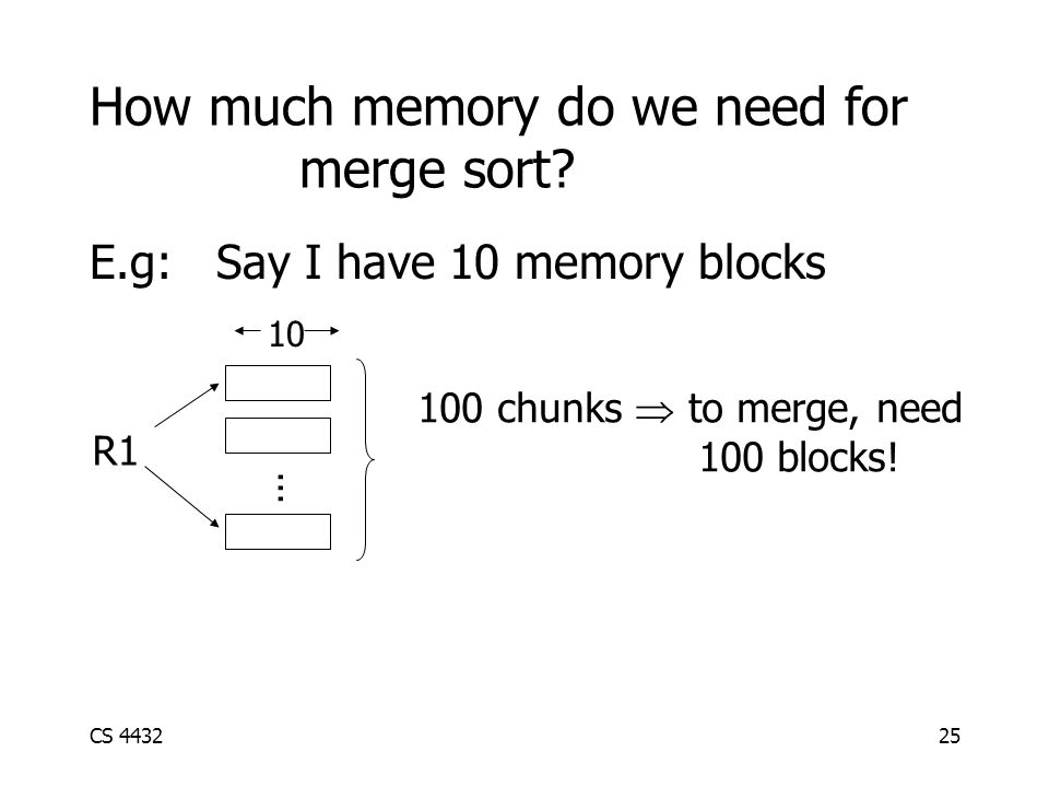 CS 443225 How much memory do we need for merge sort.