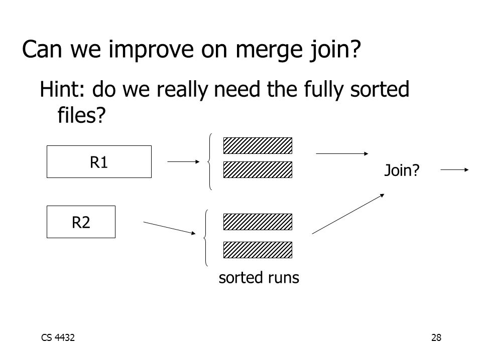 CS 443228 Can we improve on merge join. Hint: do we really need the fully sorted files.