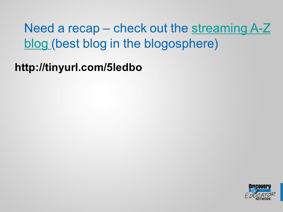 Need a recap – check out the streaming A-Z blog (best blog in the blogosphere)streaming A-Z blog http://tinyurl.com/5ledbo