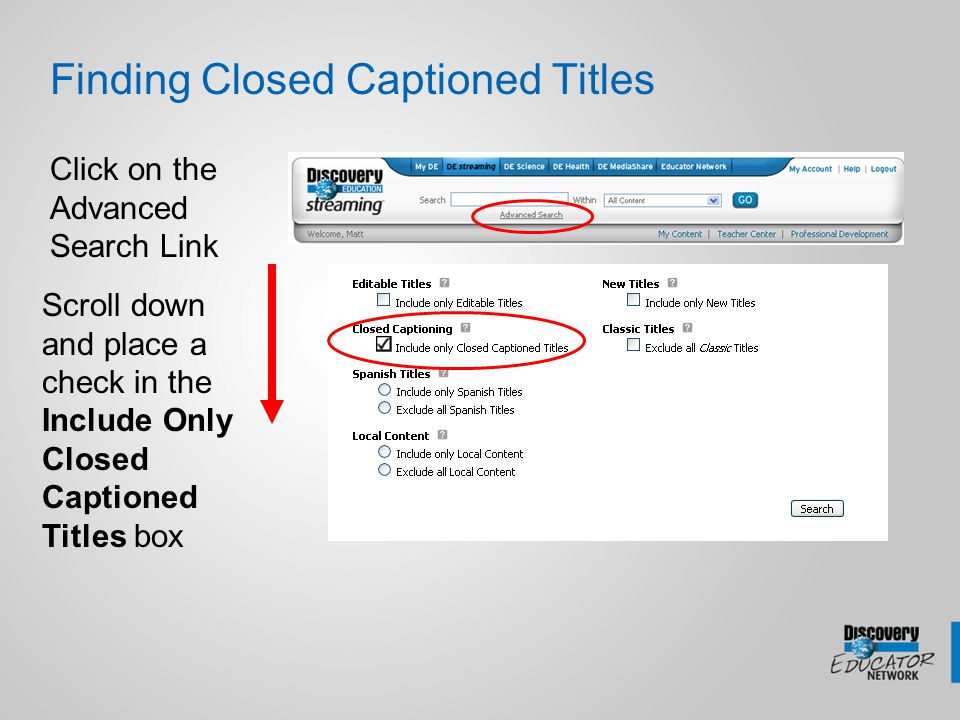 Turning CC files on 1.Check the Enable Closed Captioning box in the Media Settings area 2.Set CC as the default in your My Preferences Area