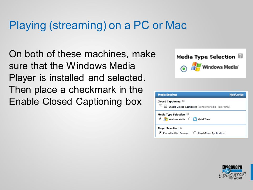 Downloading CC videos and CC Files on a PC Create a CC folder Find ANY video in DE streaming and download it into your Close Caption Folder Right-Click on the blue download icon and either Save Target As (IE) or Save Link As (Firefox) Right-Click on the CC icon and either Save Target As (IE) or Save Link As (Firefox) Save file in the same folder