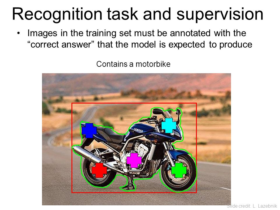 "Images in the training set must be annotated with the ""correct answer"" that the model is expected to produce Contains a motorbike Recognition task and"