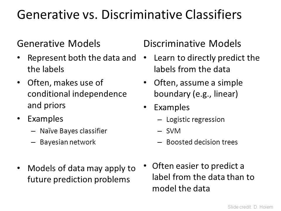 Generative vs. Discriminative Classifiers Generative Models Represent both the data and the labels Often, makes use of conditional independence and pr