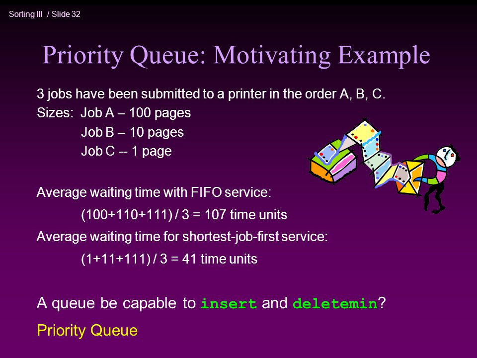 Sorting III / Slide 32 Priority Queue: Motivating Example 3 jobs have been submitted to a printer in the order A, B, C.
