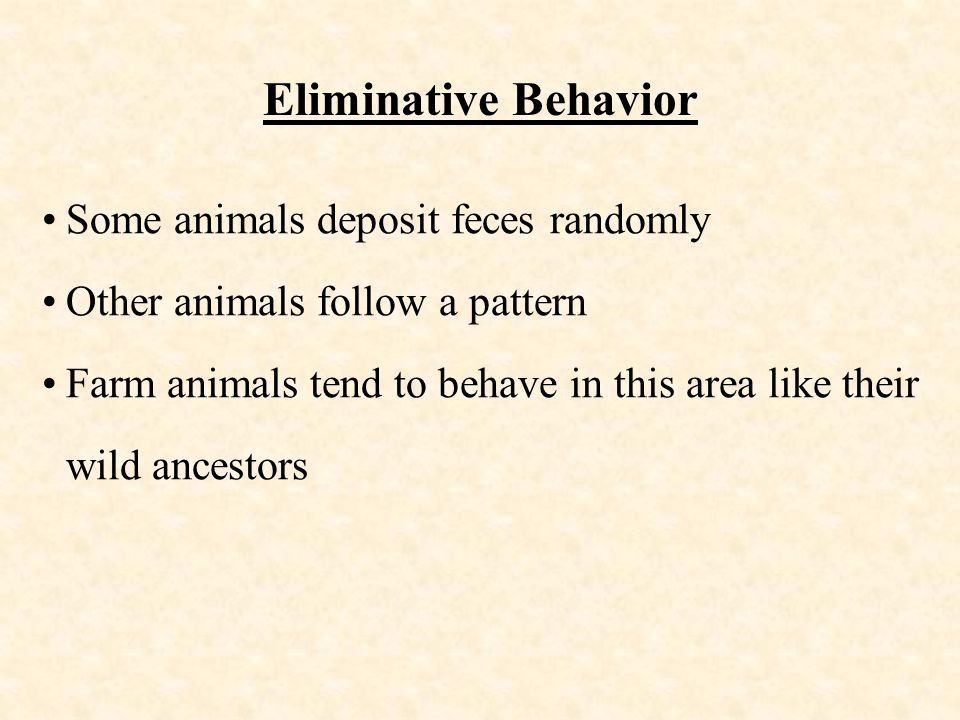 Eliminative Behavior Some animals deposit feces randomly Other animals follow a pattern Farm animals tend to behave in this area like their wild ancestors
