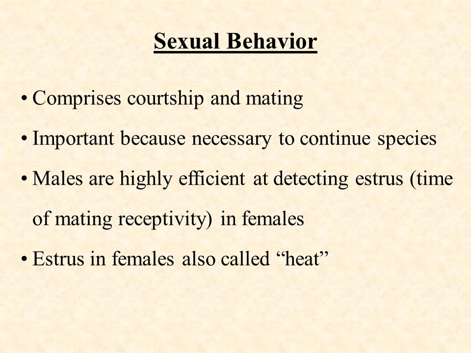Sexual Behavior Comprises courtship and mating Important because necessary to continue species Males are highly efficient at detecting estrus (time of mating receptivity) in females Estrus in females also called heat
