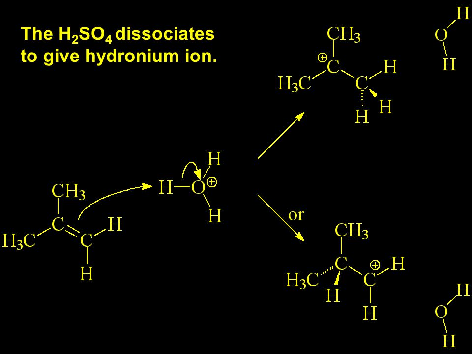 The H 2 SO 4 dissociates to give hydronium ion.