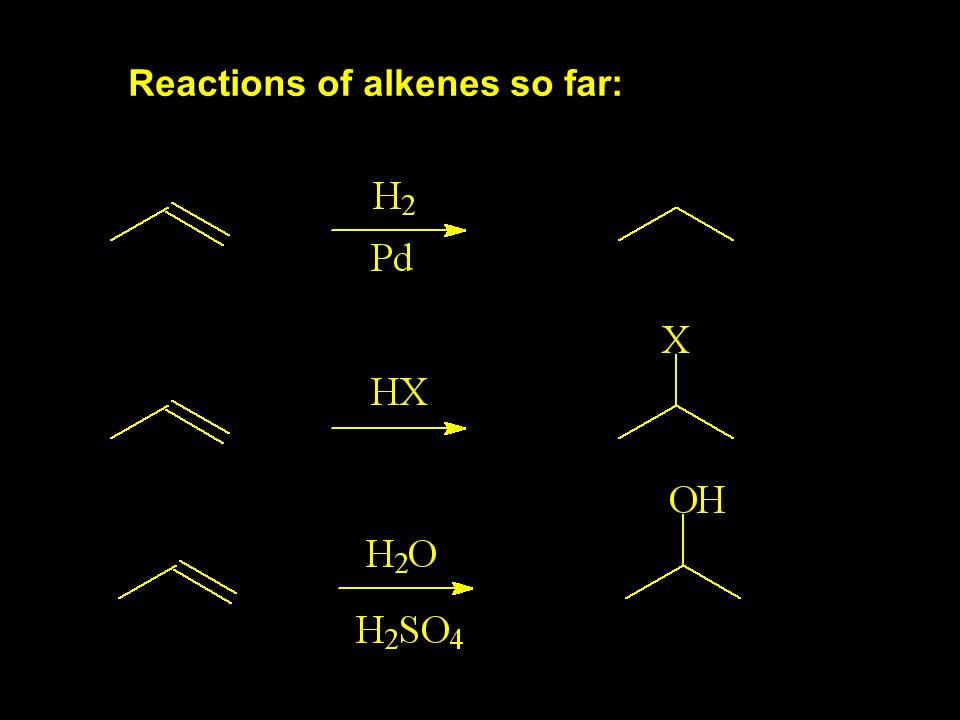 Reactions of alkenes so far: