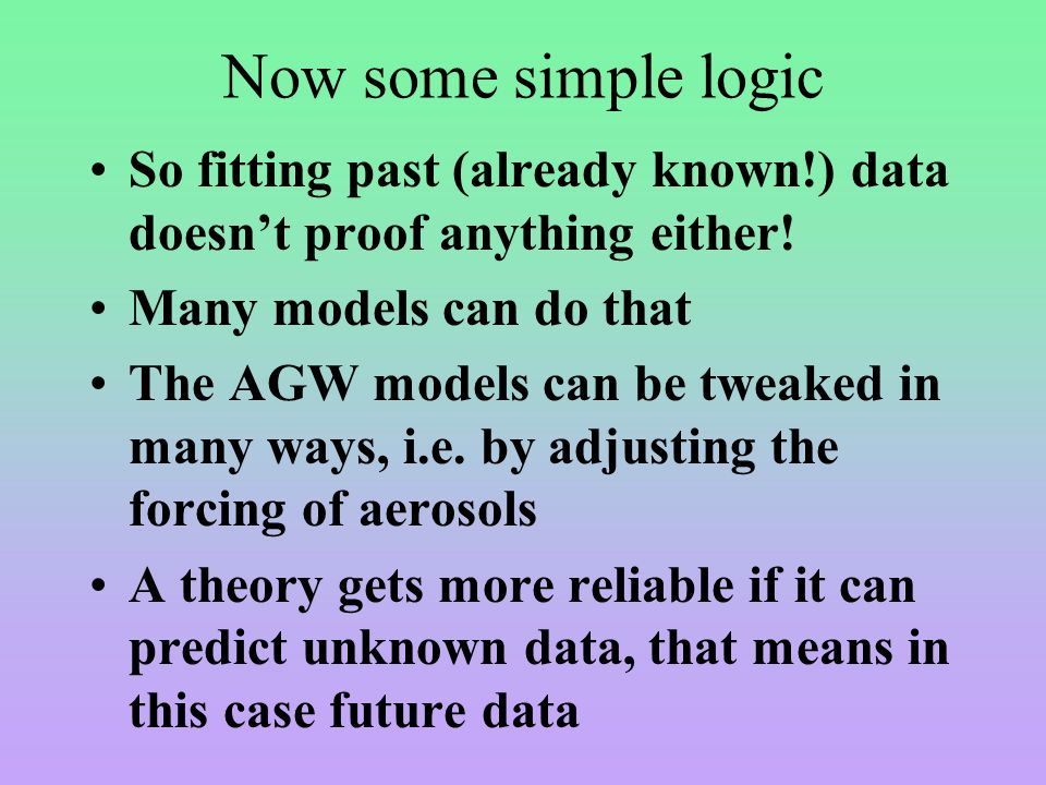 Now some simple logic So fitting past (already known!) data doesn't proof anything either.