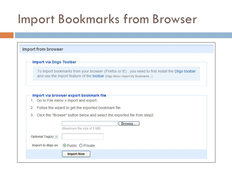 Import Bookmarks from Browser