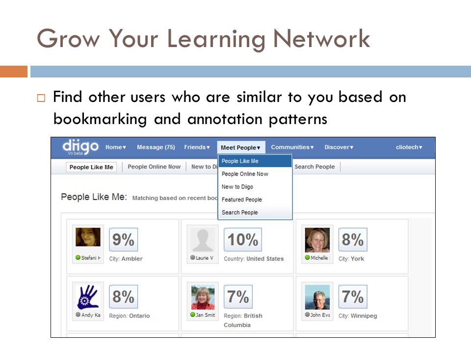 Grow Your Learning Network  Find other users who are similar to you based on bookmarking and annotation patterns