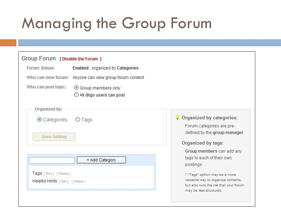 Managing the Group Forum