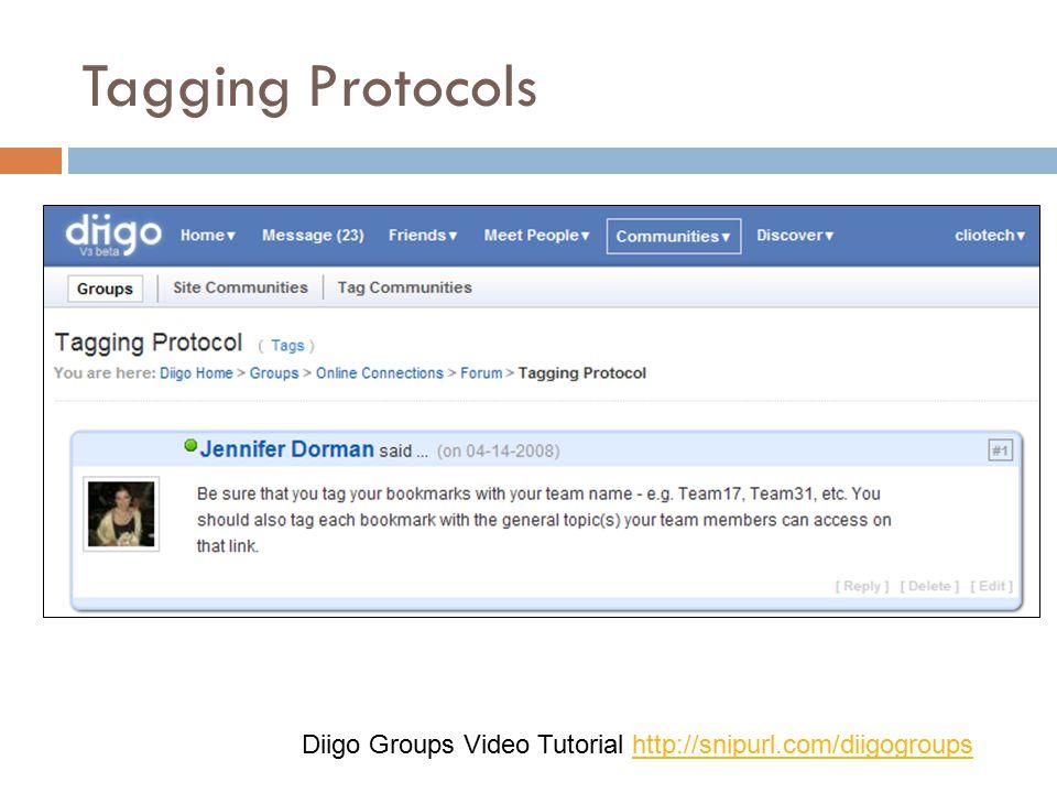 Tagging Protocols Diigo Groups Video Tutorial http://snipurl.com/diigogroupshttp://snipurl.com/diigogroups
