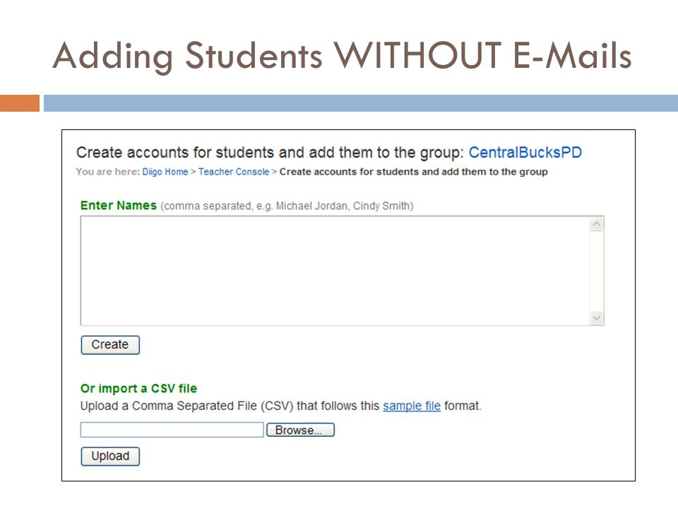 Adding Students WITHOUT E-Mails
