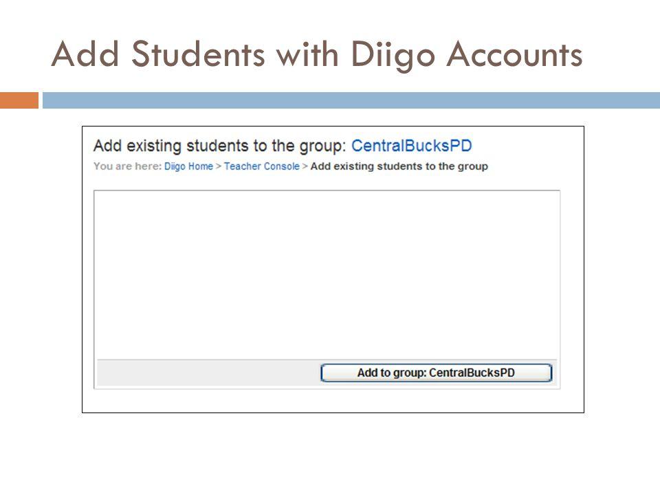 Add Students with Diigo Accounts