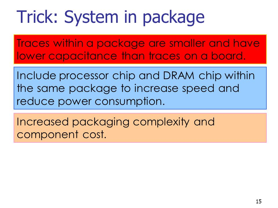 15 Trick: System in package Include processor chip and DRAM chip within the same package to increase speed and reduce power consumption.