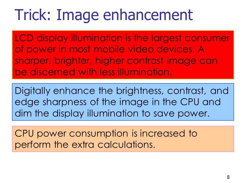 8 Trick: Image enhancement LCD display illumination is the largest consumer of power in most mobile video devices.