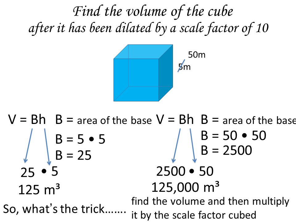 Find the volume of the cube 5m V = BhB = area of the base B = 5 5 B = 25 5 125 m³ 25 B = 2500 50 125,000 m³ 2500 V = BhB = area of the base B = 50 50 50m after it has been dilated by a scale factor of 10 So, what's the trick…….