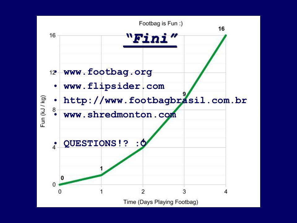 """""""Fini"""" www.footbag.org www.flipsider.com http://www.footbagbrasil.com.br www.shredmonton.com QUESTIONS!? :O"""