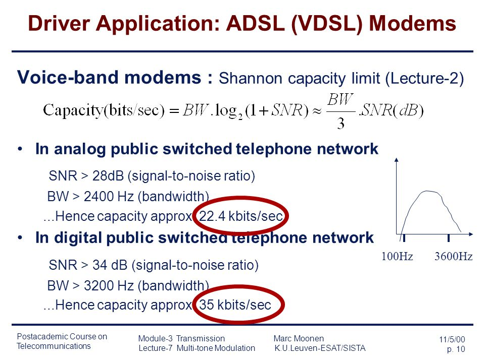 Postacademic Course on Telecommunications 11/5/00 p. 9 Module-3 Transmission Marc Moonen Lecture-7 Multi-tone Modulation K.U.Leuven-ESAT/SISTA Driver