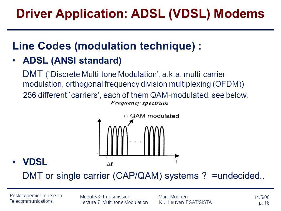 Postacademic Course on Telecommunications 11/5/00 p. 17 Module-3 Transmission Marc Moonen Lecture-7 Multi-tone Modulation K.U.Leuven-ESAT/SISTA Driver