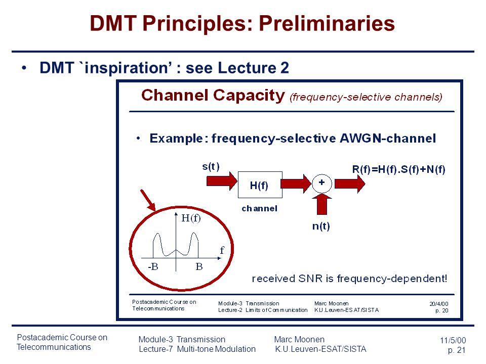 Postacademic Course on Telecommunications 11/5/00 p. 20 Module-3 Transmission Marc Moonen Lecture-7 Multi-tone Modulation K.U.Leuven-ESAT/SISTA Driver