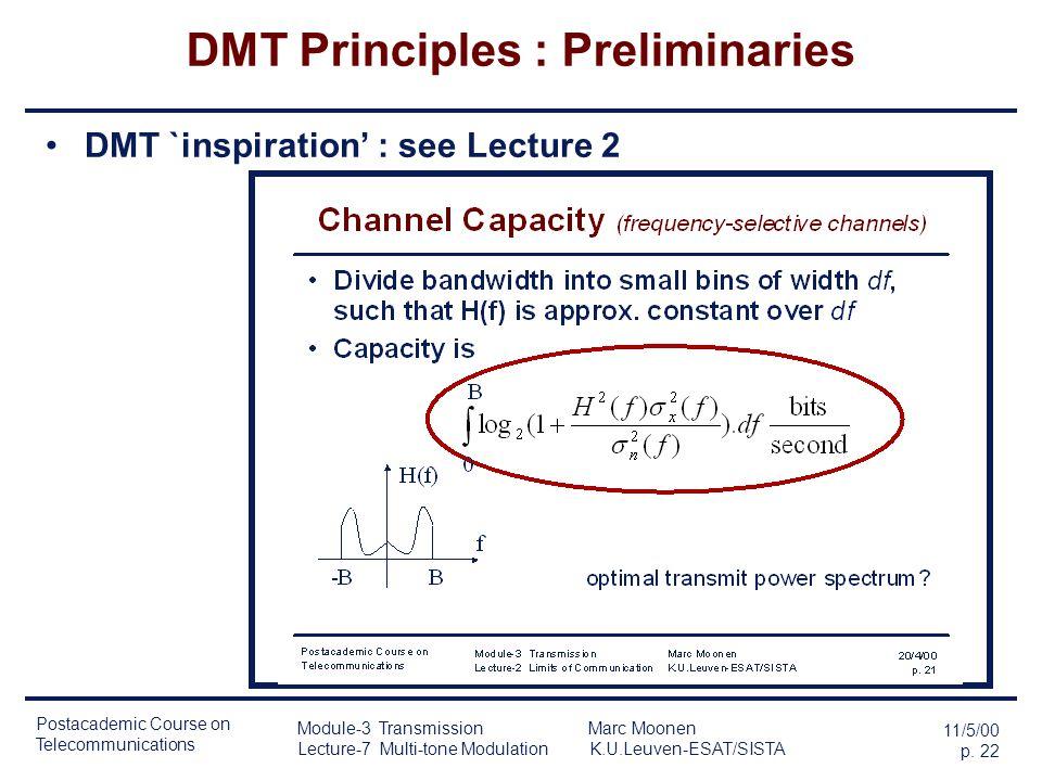 Postacademic Course on Telecommunications 11/5/00 p. 21 Module-3 Transmission Marc Moonen Lecture-7 Multi-tone Modulation K.U.Leuven-ESAT/SISTA DMT Pr
