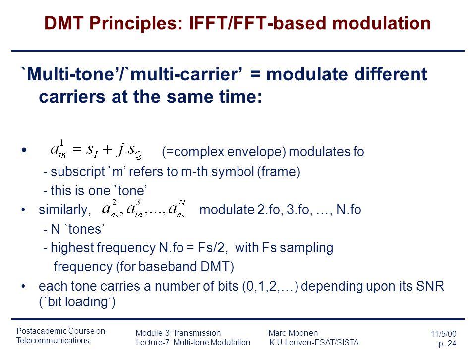 Postacademic Course on Telecommunications 11/5/00 p. 23 Module-3 Transmission Marc Moonen Lecture-7 Multi-tone Modulation K.U.Leuven-ESAT/SISTA DMT Pr