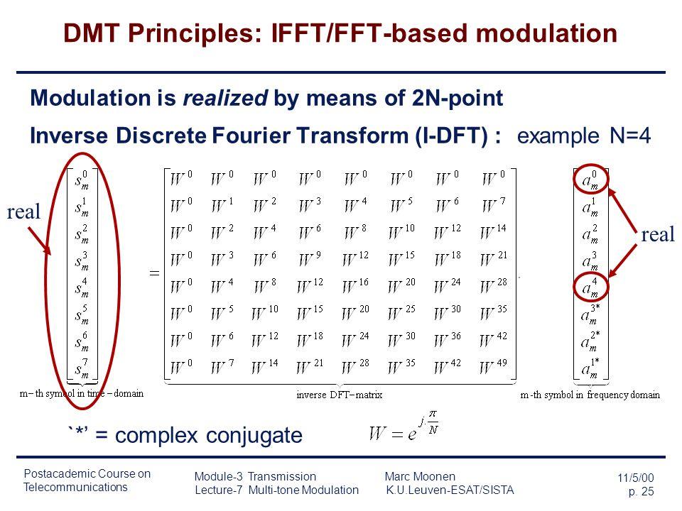 Postacademic Course on Telecommunications 11/5/00 p. 24 Module-3 Transmission Marc Moonen Lecture-7 Multi-tone Modulation K.U.Leuven-ESAT/SISTA DMT Pr