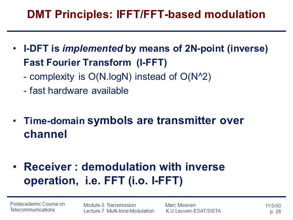 Postacademic Course on Telecommunications 11/5/00 p. 25 Module-3 Transmission Marc Moonen Lecture-7 Multi-tone Modulation K.U.Leuven-ESAT/SISTA DMT Pr