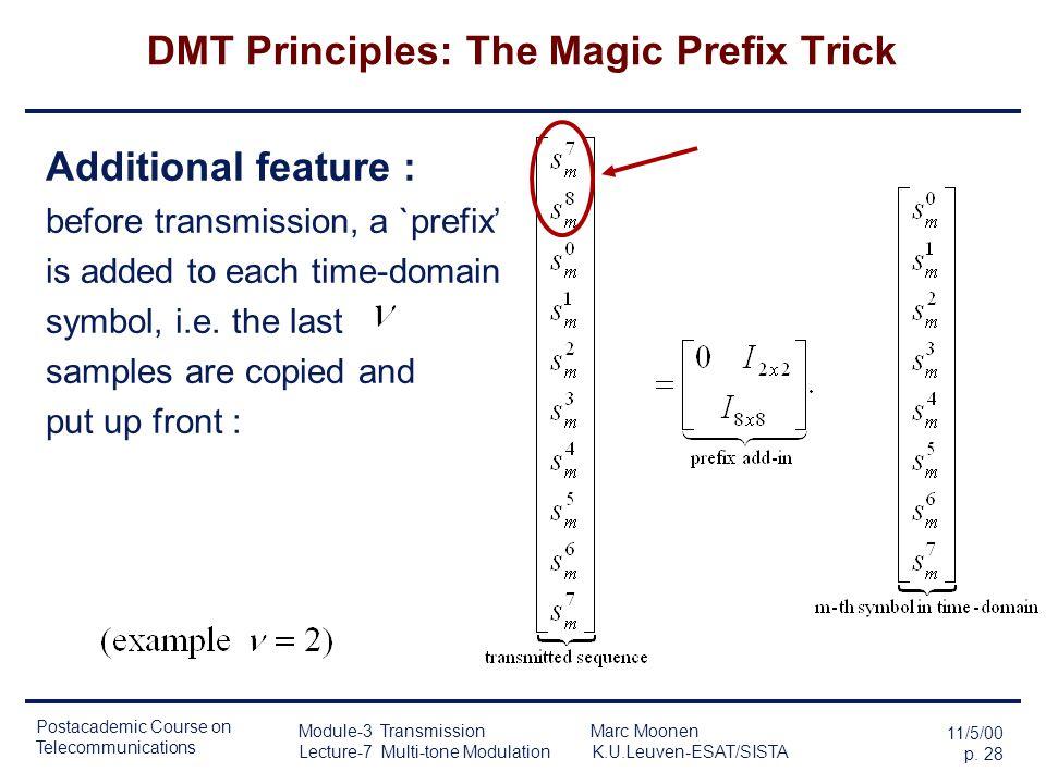 Postacademic Course on Telecommunications 11/5/00 p. 27 Module-3 Transmission Marc Moonen Lecture-7 Multi-tone Modulation K.U.Leuven-ESAT/SISTA DMT Pr