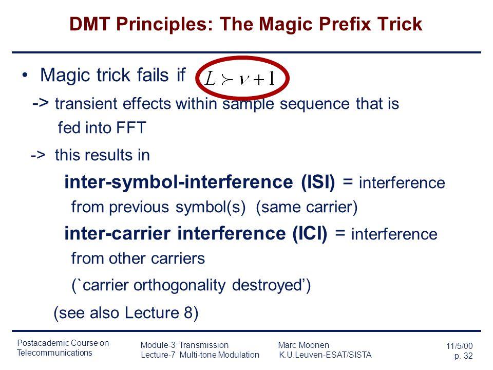 Postacademic Course on Telecommunications 11/5/00 p. 31 Module-3 Transmission Marc Moonen Lecture-7 Multi-tone Modulation K.U.Leuven-ESAT/SISTA DMT Pr