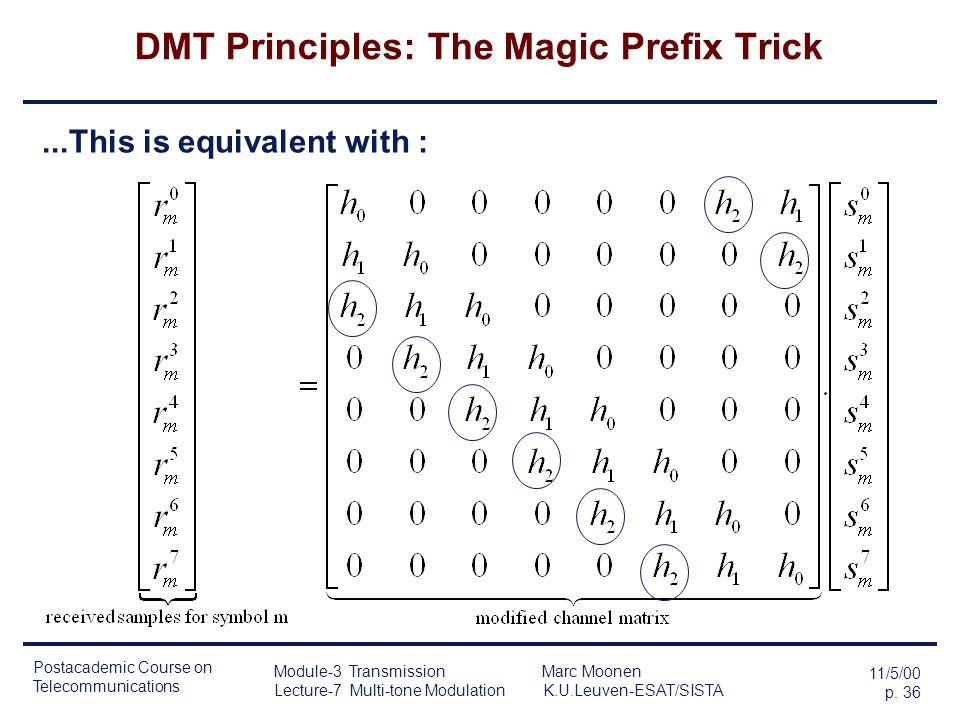 Postacademic Course on Telecommunications 11/5/00 p. 35 Module-3 Transmission Marc Moonen Lecture-7 Multi-tone Modulation K.U.Leuven-ESAT/SISTA DMT Pr
