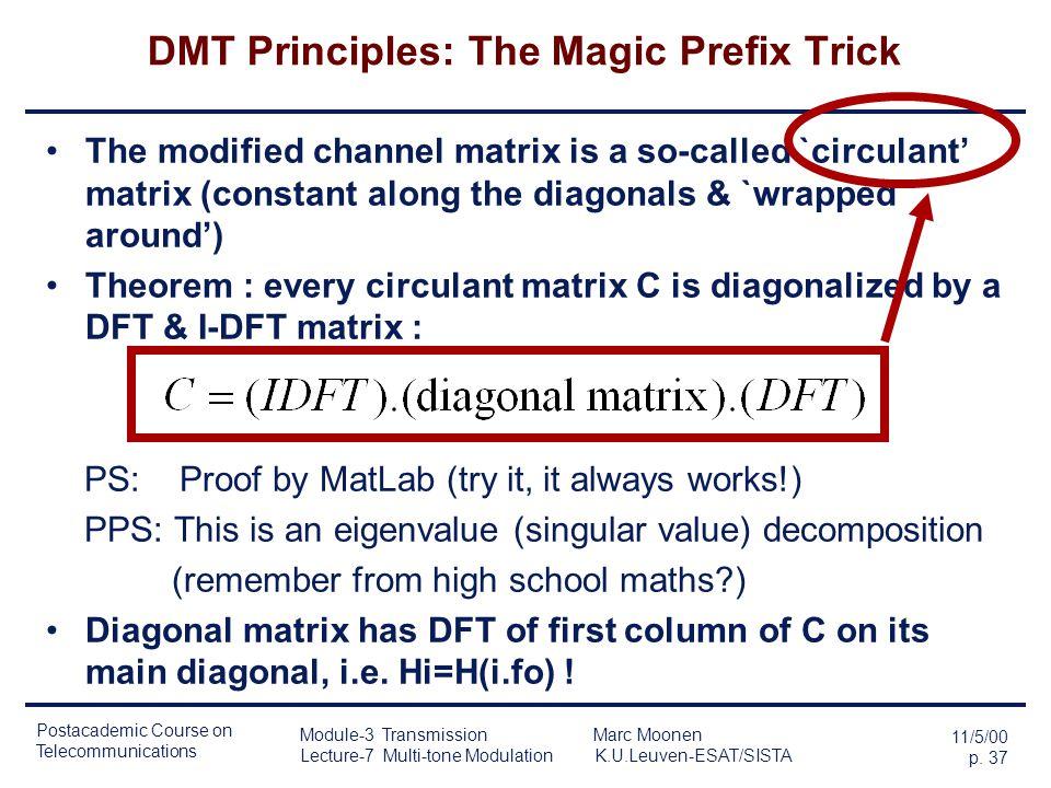 Postacademic Course on Telecommunications 11/5/00 p. 36 Module-3 Transmission Marc Moonen Lecture-7 Multi-tone Modulation K.U.Leuven-ESAT/SISTA DMT Pr