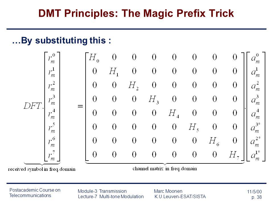 Postacademic Course on Telecommunications 11/5/00 p. 37 Module-3 Transmission Marc Moonen Lecture-7 Multi-tone Modulation K.U.Leuven-ESAT/SISTA DMT Pr