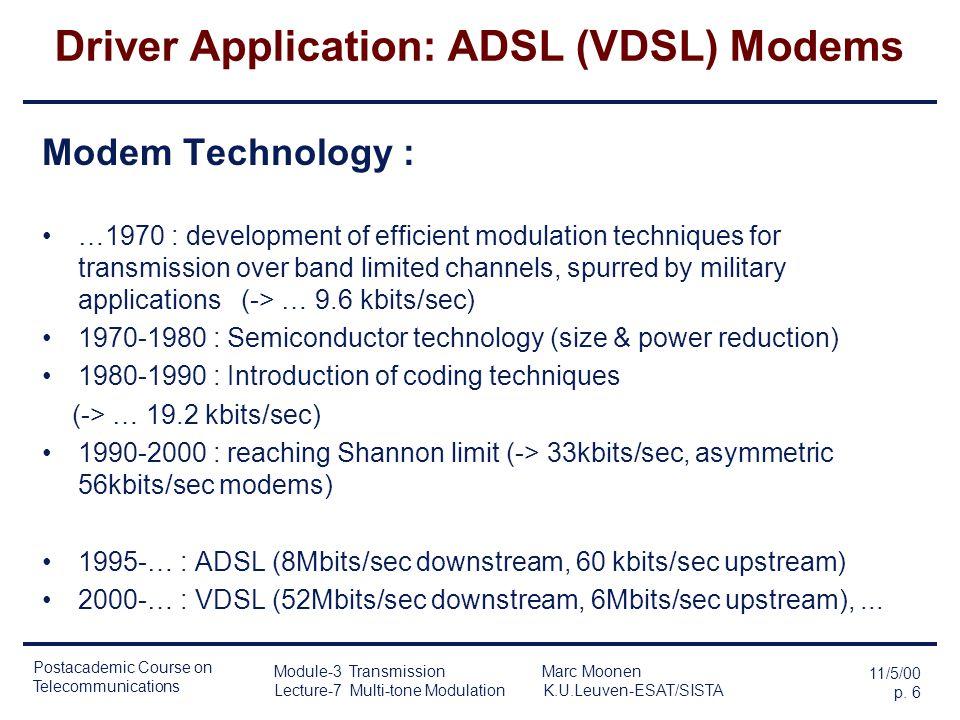Postacademic Course on Telecommunications 11/5/00 p. 5 Module-3 Transmission Marc Moonen Lecture-7 Multi-tone Modulation K.U.Leuven-ESAT/SISTA Driver