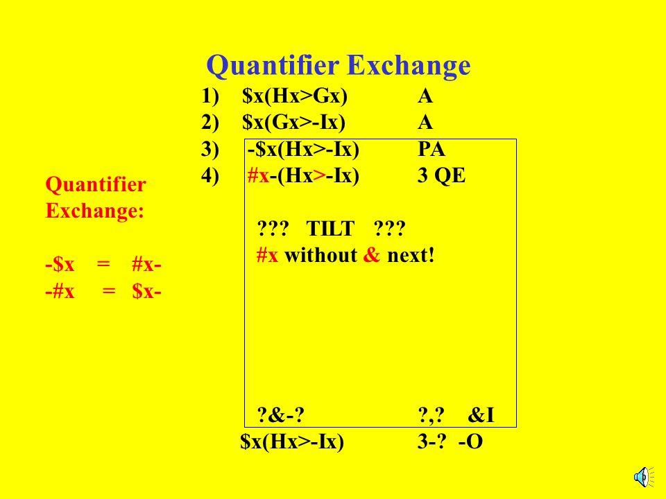 Quantifier Exchange 1) $x(Hx>Gx)A 2) $x(Gx>-Ix)A 3) -$x(Hx>-Ix)PA 4) #x-(Hx>-Ix)3 QE The part after the quantifier stays the same. ?&-??,? &I $x(Hx>-I