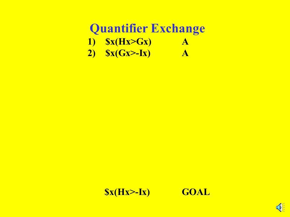 Quantifier Exchange 1) $x(Hx>Gx)A 2) $x(Gx>-Ix)A $x(Hx>-Ix)GOAL