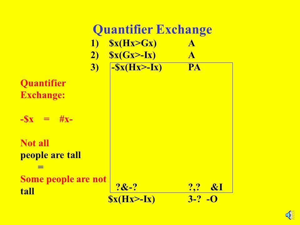 Quantifier Exchange 1) $x(Hx>Gx)A 2) $x(Gx>-Ix)A 3) -$x(Hx>-Ix)PA ?&-??,? &I $x(Hx>-Ix)3-? -O Quantifier Exchange: -$x = #x- -#x = $x-