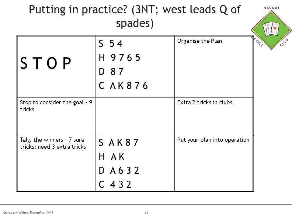 Surendra Mehta, December 200111 Putting in practice? (3NT; west leads Q of spades) S T O P S 5 4 H 9 7 6 5 D 8 7 C A K 8 7 6 Organise the Plan Stop to