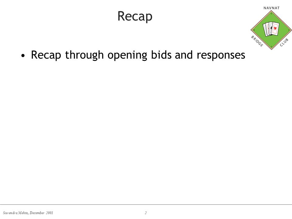 Surendra Mehta, December 20012 Recap Recap through opening bids and responses