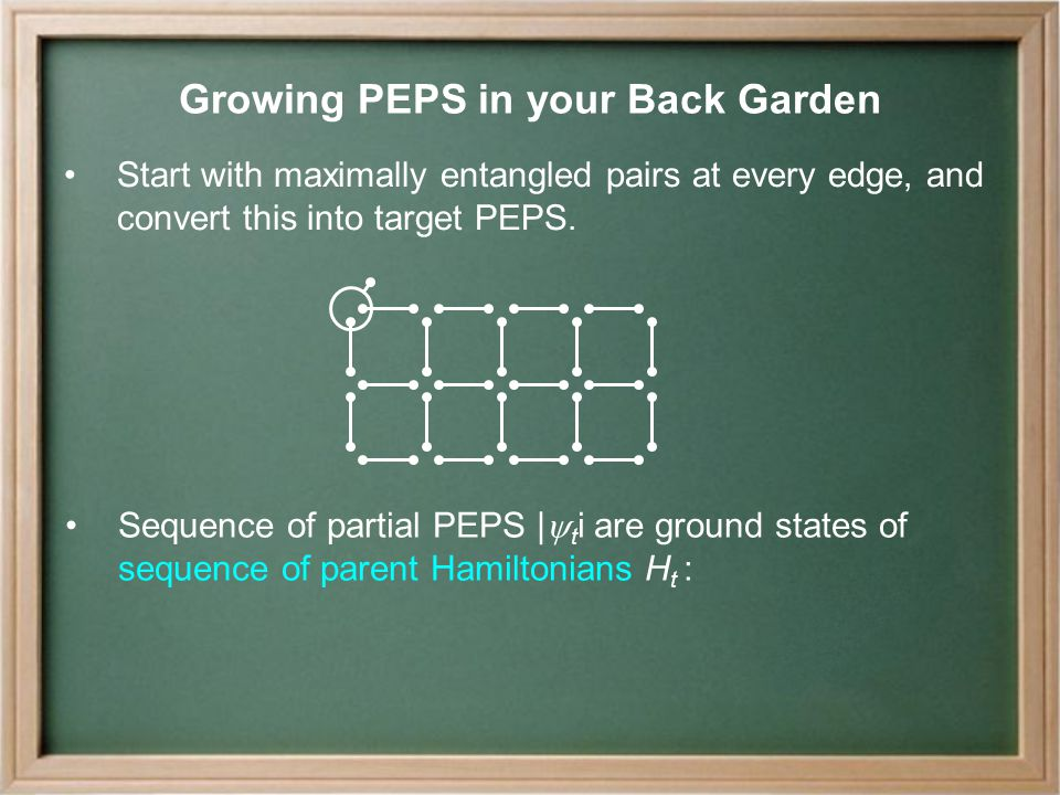 Growing PEPS in your Back Garden Start with maximally entangled pairs at every edge, and convert this into target PEPS.