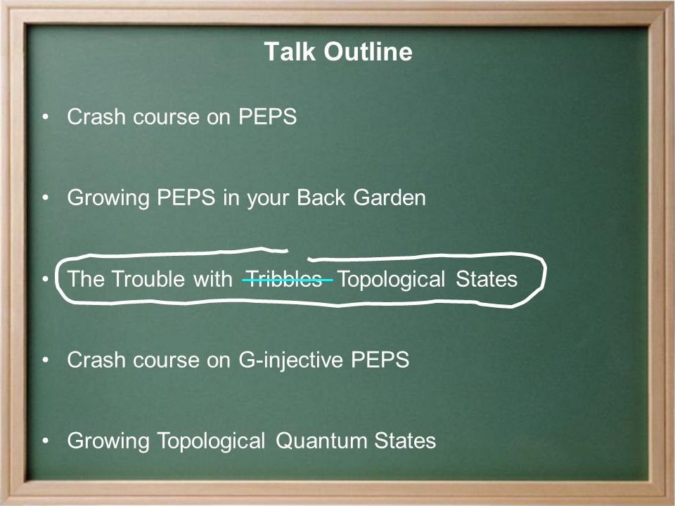 Talk Outline Crash course on PEPS Growing PEPS in your Back Garden The Trouble with Tribbles Topological States Crash course on G-injective PEPS Growing Topological Quantum States