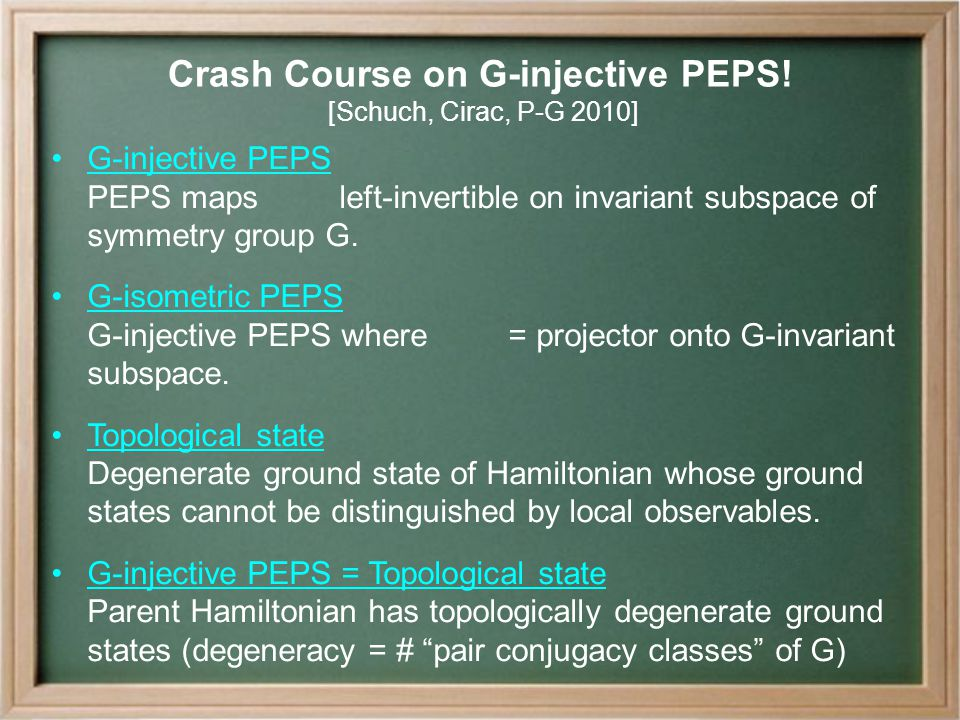 Crash Course on G-injective PEPS.