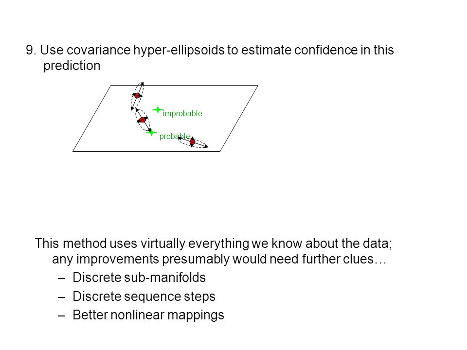 9. Use covariance hyper-ellipsoids to estimate confidence in this prediction probable improbable This method uses virtually everything we know about t